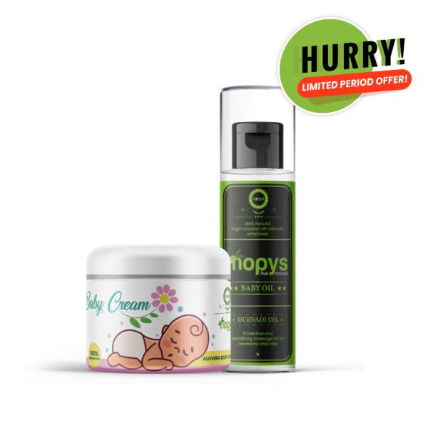 Combo Pack - Nopys Baby Cream & Baby Oil - the best and purest moisturising and nourishing cream for delicate skin - Newborn cream -