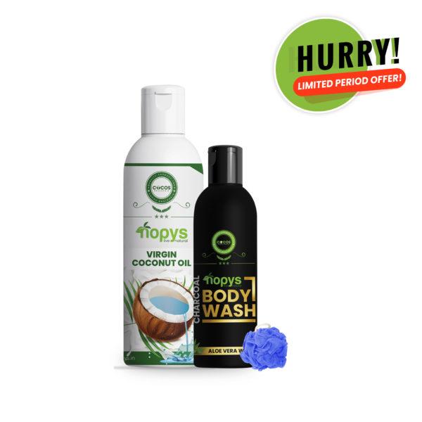 Combo Pack - Nopys Virgin Coconut Oil & Nopys CharcoalBody Wash/Virgin coconut oil in kerala/best natural body wash/herbal body wash